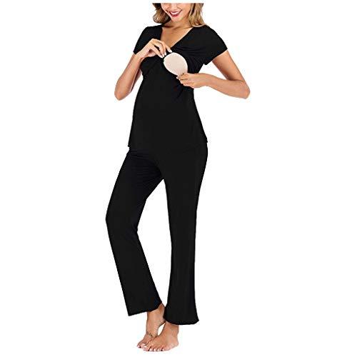 Xniral Damen Kurzarm Mutterschaft T-Shirt + Einstellbar Hosen Pyjama Set Laktation Schwangerschaft Bequemes Set(Schwarz,S)