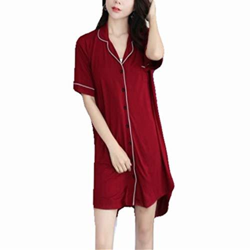 Discountl Modal-Nachthemd für Damen, Sommer, kurzärmlig, große Größe, lockeres Hemd, mittellang, Heimkleidung, kann im Freien getragen werden, kurzes Nachthemd, Morgenmantel für Damen Gr. Large, rot