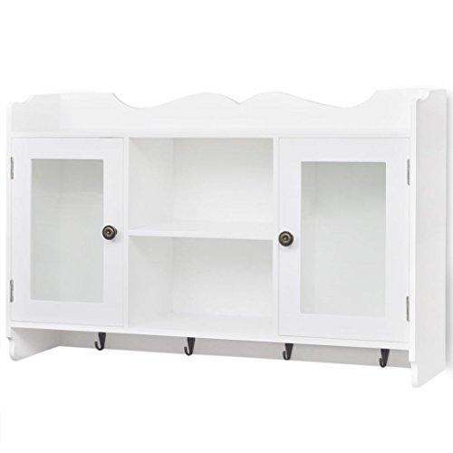 vidaXL Armario/Vitrina Material MDF de Pared para Libros/DVD/Cristalería Color Blanco