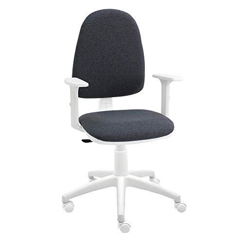 Silla giratoria Blanca de Oficina y Escritorio, Modelo Torino, con Brazos, diseño 100% Blanco ergonómico con Contacto Permanente (Gris Oscura)