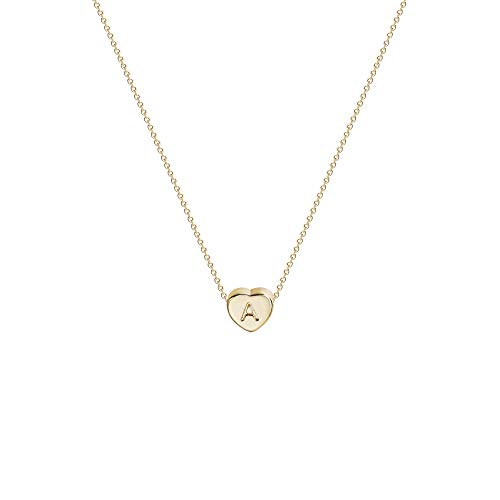 Tiny Gold Initial Heart Necklace-14K Gold Filled Handmade Dainty Personalized Heart Choker Necklace For Women Letter A