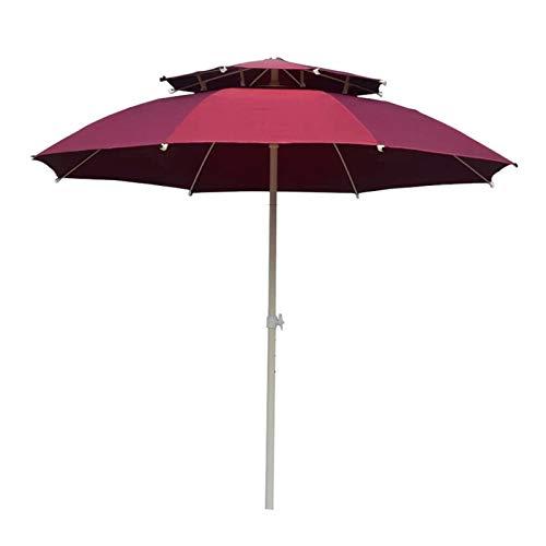 ZHEYANG Sombrilla Parasol Terraza Sombrias para Sol Patio Al Aire Libre Parasol Toldo Playa Camping Protección Solar Nivel Doble Sombrilla Modelo:G0515 (Color : Red, Talla : 2.5m)