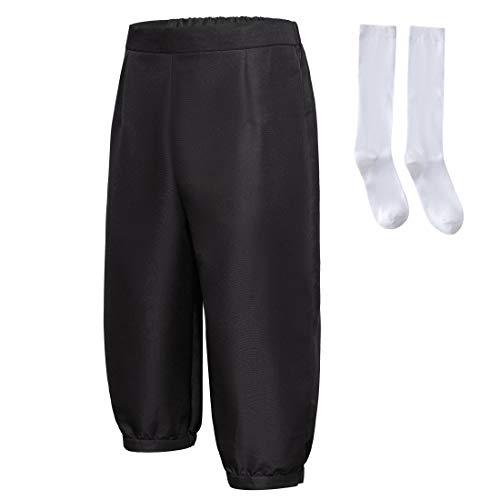 dream cosplay Hombres Colonial Corsario Bragas Medieval Pirata Disfraz Pantalones con Calcetines(Negro,M)