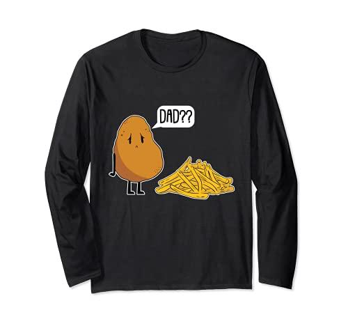 Papá Papa perezoso disfraz de Halloween patatas fritas divertidas Manga Larga