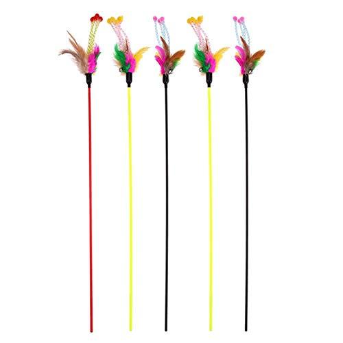 VWCDO 5 stks/set Kat Speelgoed Grappige Elastische Plastic Lange Paal Kleurrijke Bloem Sticks Veer plagen Interactieve Katten Sticks