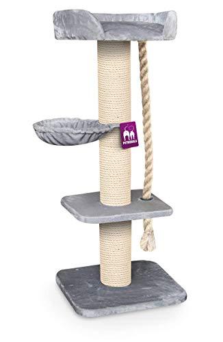 Petrebels Kratzbaum Maine Coon 173 Royal Grey, Extrem Stabiler Kratzbaum XXL für große Katzenrassen, auch für Maine Coon, Norwegische Waldkatzen oder Ragdolls, 173 cm, Farbe Grau, Hellgrau