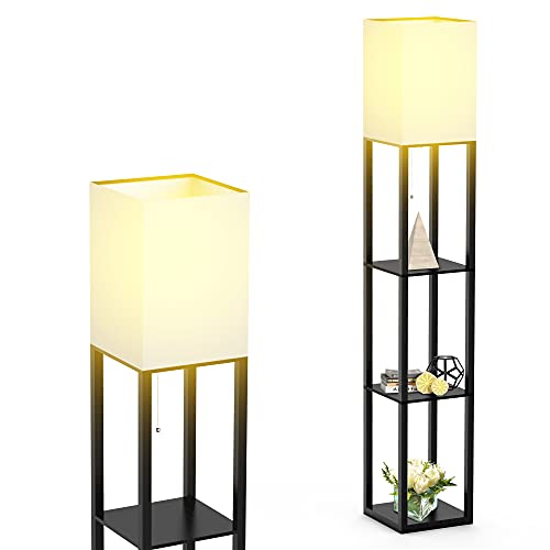 Floor Lamp with Shelves by Solid Wood, Modern Shelf Floor Lamp with 3 Color Temperature, Linen Lampshade and Storage Shelves for Living Room, Bedroom, Bulb Included, Matte Black