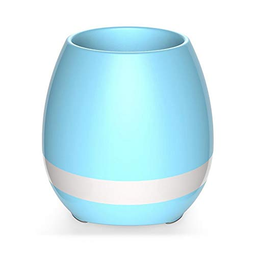 Music Flower Pot, Wireless Bluetooth Speaker, LED Light Smart Touch Music Flower Pot, Multicolor Night Light, Play Piano Music on a real plant with colorful LED lights (Plant not included),Blue
