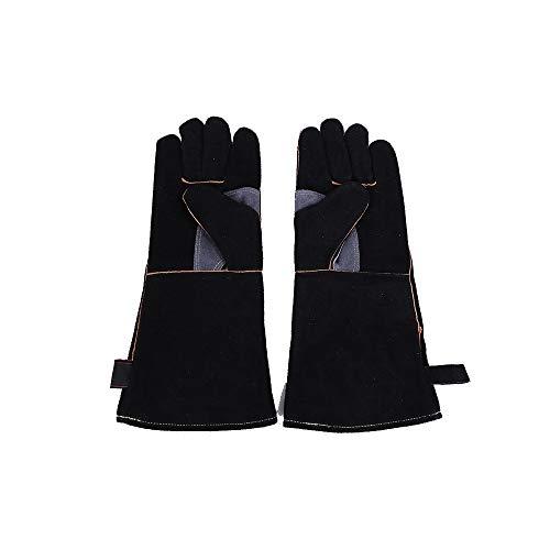 Hitzebeständige Lederhandschuhe Lange Ärmel,Kevlar Nähte Feuerfeste Hochfeste Handschuhe zum Schweißen, für Ofen, Grill, Kamin