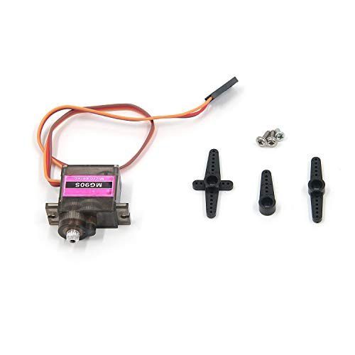 FarBoat MG90S Micro Servo Mini Motor Metal Gear 2Kg/cm 4.8V 90° for RC Car Helicopter Model Smart Robot Airplane with Screws Rovker Arms