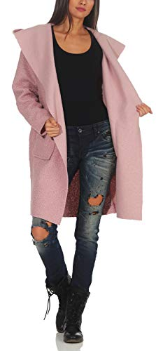 malito Mujer Abrigo Boucle Lana Chaqueta Trenchcoat Vellón Capucha 9320 (rosa, adecuado de la talla 40 hasta 46)