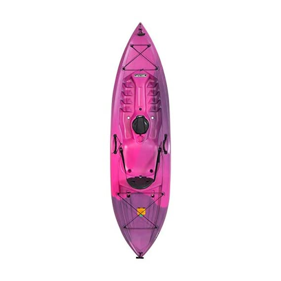 Lifetime Lotus Sit-On-Top Kayak with Paddle 1 Kayak Paddle included. Hull design provides ultra stability and great tracking Multiple footrest positions for different size Paddlers. Includes hard adjustable backrest Scupper holes drain Cockpit area. Molded Paddle cradle. Easy carry handle