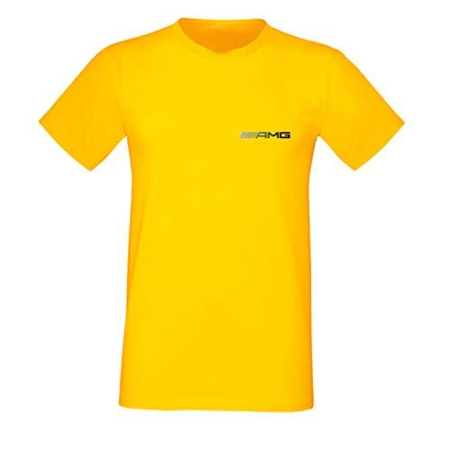 T-Shirt Herren Männer Auto AMG Edition Mer.ce.des Benz Power Geschenk Spaß Sport Linie Feuer Engel Augen Dunkle Feiertage Vatertag Drift Spaß Junge Kilometerstand Drift (Gelb, L)