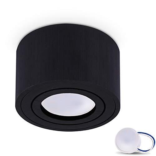 JVS Aufbauleuchte Aufbaustrahler Deckenleuchte Aufputz MILANO SMALL 5W LED Modul extra-flach Warmweiss 230V IP20 rund schwarz schwenkbar Strahler Deckenlampe Aufbau-lampe Downlight aus Aluminium