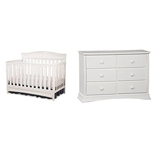 Delta Children Emery 4-in-1 Crib, White and Children Bentley Six Drawer Dresser, White
