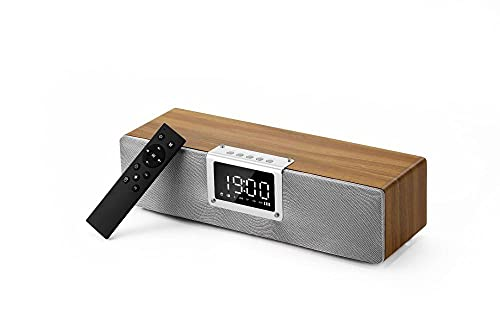 ALEAR Reloj Digital de Madera con Altavoz Bluetooth. Radio de Sonido Envolvente 3D con Subwoofer InaláMbrico y Alarma para Despertar a los NiñOs, Puede Responder Llamadas-Amarillo