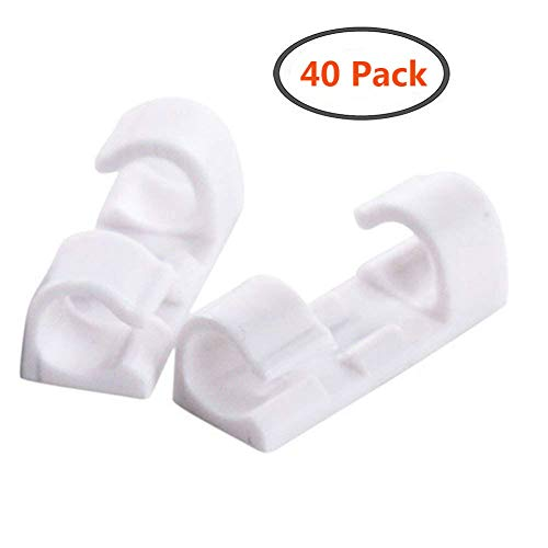 Kabelschellen aus Kunststoff, mit selbstklebender Rückseite, verstellbar, 40Stück weiß
