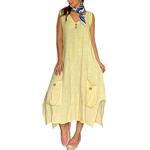 Katoen en linnen jurk Nieuwe stijl Dames Europese en Amerikaanse V-hals effen kleur Grote maat Onregelmatig