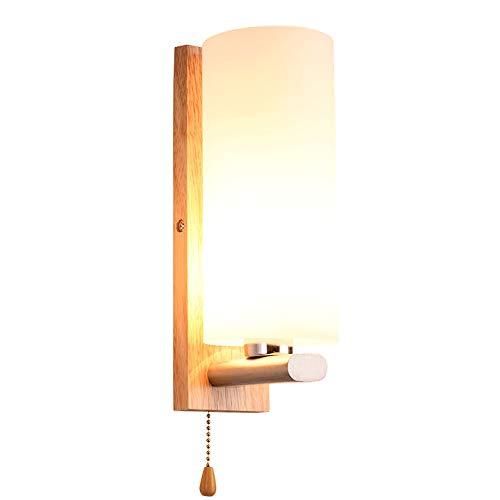 HRCxue Bañadores de pared Arte de madera maciza original llevó la lámpara de pared de noche del dormitorio Lámparas de pasillo de pared de estilo nórdico preservativo