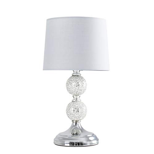 Modern Decorative Chrome & Mosaic Crackle Glass Table Lamp with a Grey Shade