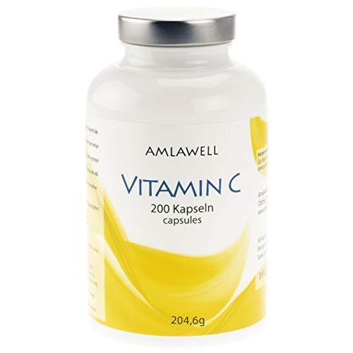 Amlawell cápsulas de vitamina C - 200 cápsulas vegetarianas - para 6 meses - libre de aditivos
