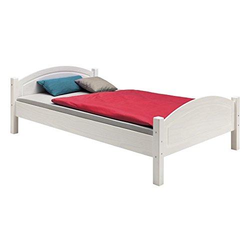 IDIMEX Holzbett Einzelbett Bett FLIMS Kiefer massiv Weiss lackiert 100 x 200 cm (B x L)