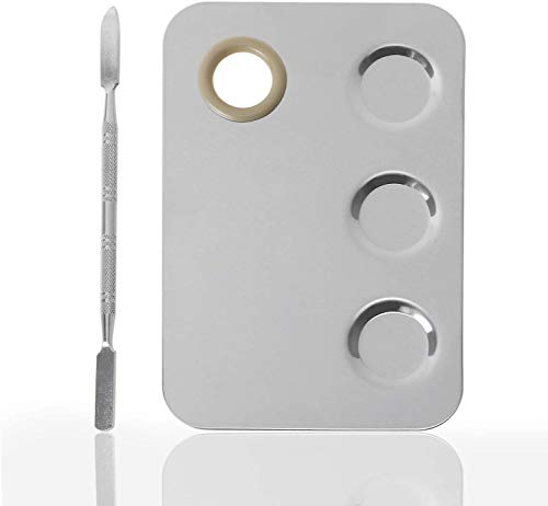 KissDate Makeup Palette 6x4inch Stainless Steel 3-well Nail-art Cosmetic Artist Mixing Palette with Spatula Tool for Mixing Foundation Silver