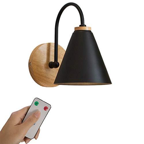 1-luz lámpara de pared Negro Industrial,LED funcionamiento por batería control remoto accesorio de luz de pared inalámbrico para interiores para lavandería en escaleras,bombillas recargables incluidas