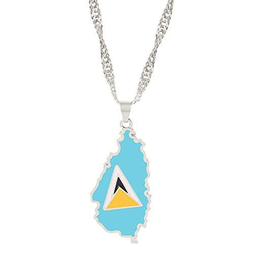 Collar de la bandera nacional del mapa de Santa Lucía, collar de cadena con encanto para mujer, joyería bonita, regalo del Día Nacional para niña