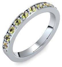Memoire Ring Weißgold Ring Peridot 750 + inkl. Luxusetui + Peridot Ring Weißgold Peridotring Weißgold (Weißgold 750) - Miracle Amoonic Schmuck Größe 50 (15.9)...