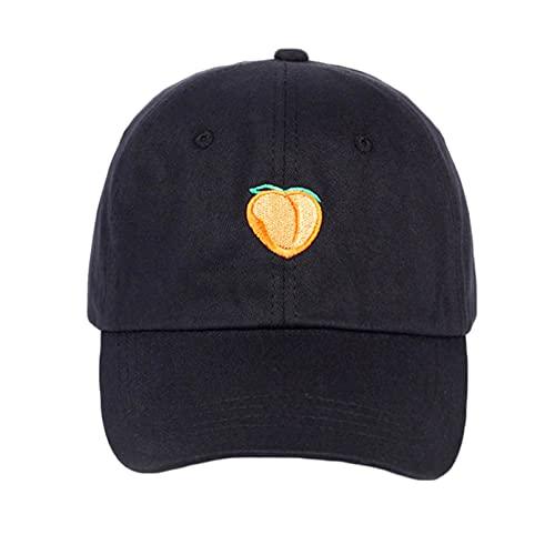 gorra Gorras Beisbol Gorra de algodón de color puro con bordado de melocotón, gorras de béisbol a la moda para hombres y mujeres, sombreros de Hip Hop con protección solar ajustable para adultos,Bl
