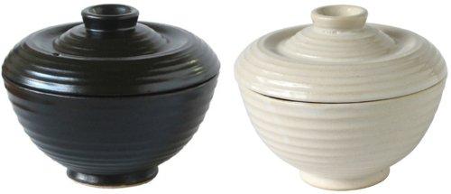 電子レンジ専用 かんたん炊飯茶碗 ペアセット白&黒(蓋付) 0.5合 78737