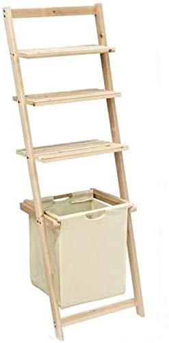 Vetrineinrete Scaffale 3 ripiani inclinato appoggio a parete in legno mobile da bagno portaoggeti con cesto portabiancheria salvaspazio 759390