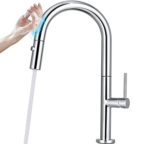 YITAHOME Touch Kitchen Faucet with Pull Down and Out Sprayer Farmhouse Stainless Steel Sink Water Faucet Single Handle Brass Body (17.2 Inches, Polished Chrome)