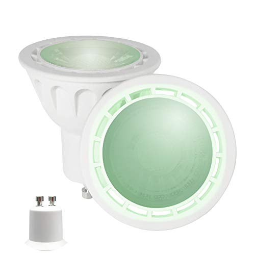YAYZA! 2er-Pack Premium MR16 GU10 6W Netz AC LED-Punktstrahler COB Glühbirne 60 Grad breiter Lichtstrah Lampe Farbe Grün