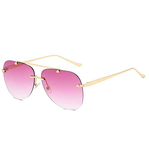 QINGZHOU Gafas de Sol,Gafas de moda Gafas de sol para mujer sin marco, Lentes de color degradado, Cara redonda de metal, Gafas de sol para mujer, Rosa púrpura progresivo