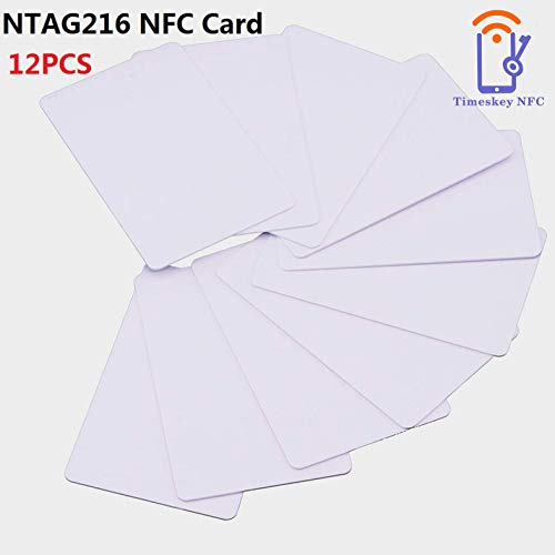 12 PCS NTAG216 NFC Tags Cards, NXP NTAG NFC 216 Card 888 Bytes Memory,NFC Tag Fully Programmable for All NFC Enabled Devices, Guaranteed by TimesKey