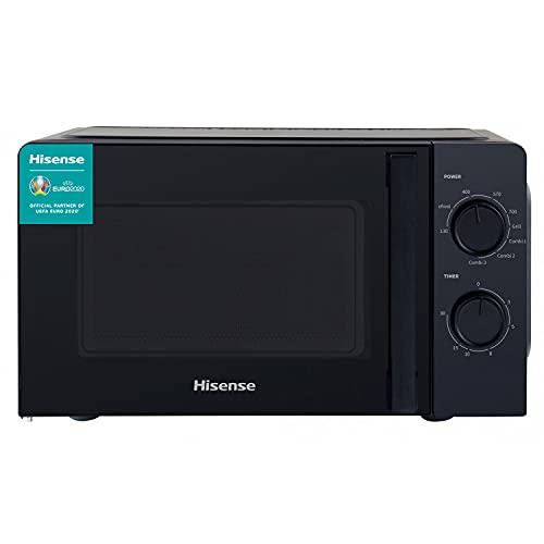 Hisense H20MOBS1HG Forno Microonde con Controllo Meccanico, Capacità 20 L, Potenza 700 Watt su 6 Livelli, Colore Nero