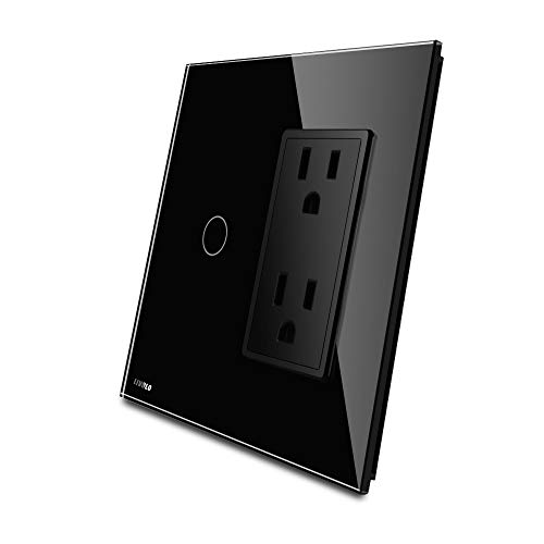 LIVOLO Black Wall Touch Light Switch with LED Indicator with Wall Outlet US Standard Vertical, 1Gang Switch + US Socket(15A), VL-C501C2US-12
