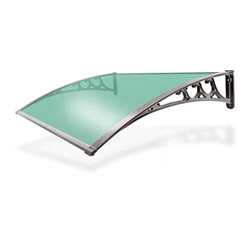 XQW Eaves Canopies Door Canopy, Mute Polycarbonate Sheet Rainproof Awning Canopy Against All Weather Elements (Color : Green+gray, Size : 60x80cm)