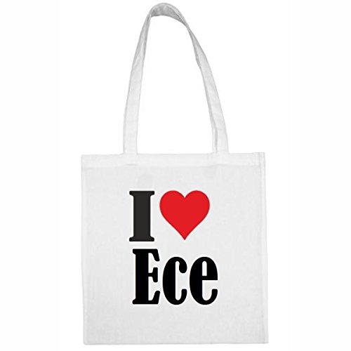 Tasche I Love Ece Größe 38x42 Farbe Weiss Druck Schwarz