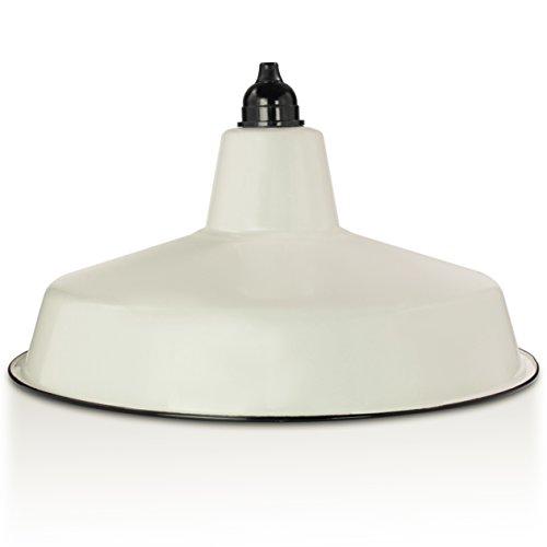 Industrie Lampenschirm Emaille Weiß (2. Wahl), Fabriklampe 36 cm, inkl. Lampenfassung Bakelit