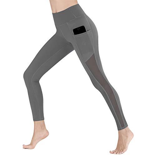 Pantalones de yoga para mujer de cintura alta, leggings opacos de malla, pantalones de fitness (gris, XL)
