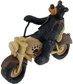 Bear Biker Riding Motorcycle Collectible Figure Statue, 5-inch