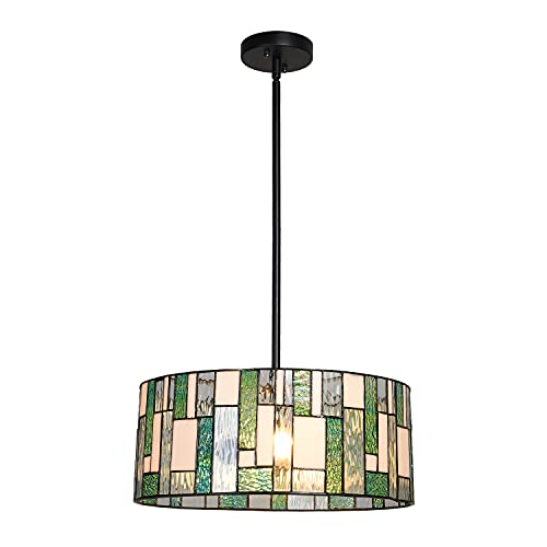 Cotoss Tiffany Pendant Light Fixtures Hanging Lamp 2 Light 16' Wide Round Stained Glass Pendant Light for Dining Room Kitchen Bars