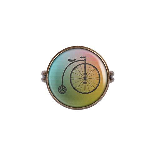 Mylery Ring mit Motiv Fahrrad Hochrad Einrad Retro Vintage Alt Bronze 16mm