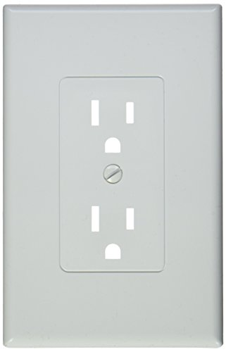 TayMac MW2500W Single-Gang Wallplate Non-Metallic Decorator Cover One Grounded Duplex, Pack of 5, White Smooth