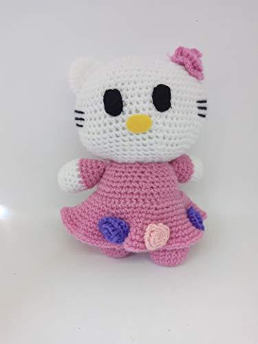 Peluche hello kitty rosa hecho a mano a ganchillo (amigurumi)