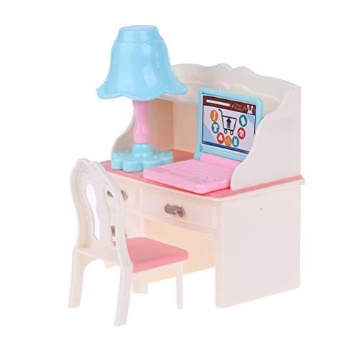 Haiabei 1 silla de escritorio para casa de muñecas, mesa y silla con lámpara de silla, accesorios para muñeca de 1/6 para muñeca Barbie, niños y niñas, juguetes de Navidad, regalos de cumpleaños
