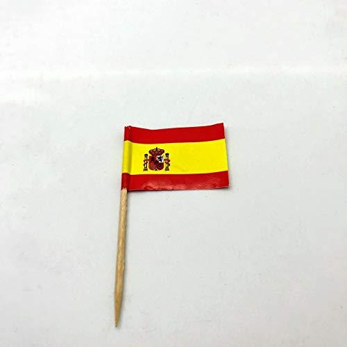 Be-Creative Palillos de dientes de España Mini Bandera de Papel Cupcake Sticks Fiesta Cóctel Catering Países Deco